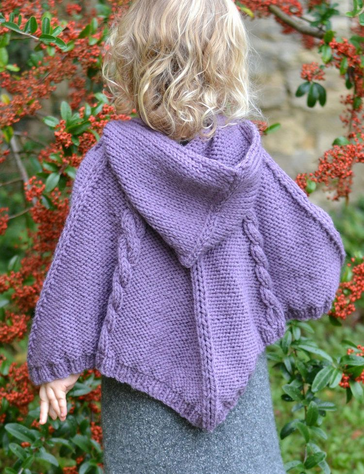 Knitting Pattern for Hooded Cable Poncho for Babies and ...