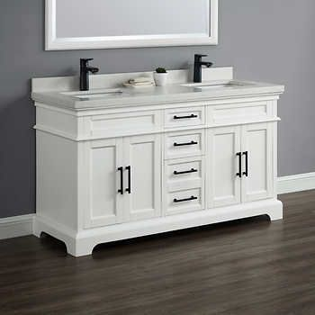 Costco 1399 99 Chandler 60 Double Sink Vanity By Mission Hills Double Sink Vanity Double Sink Bathroom Vanity White Vanity Bathroom