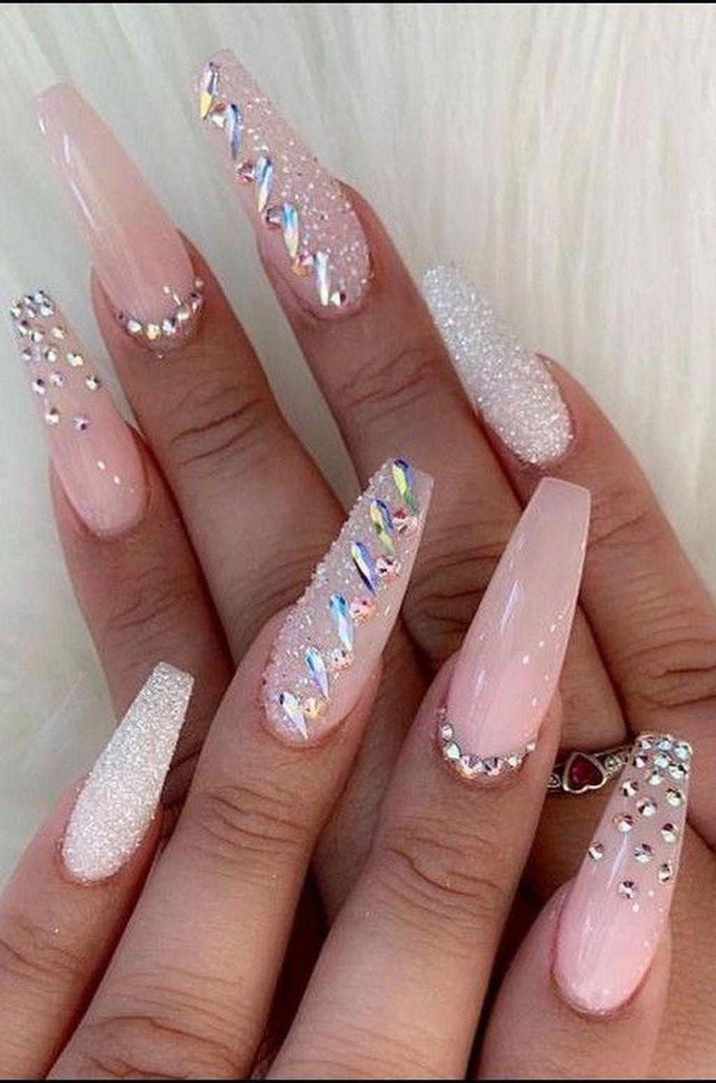 35 Unordinary Diamond Nail Design Ideas You Will Love It Birthdaynails Diamond Nail Designs Nails Design With Rhinestones Coffin Nails Designs