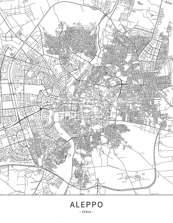 Aleppo Syria Map Poster Borderless Print Template Black Streets Railways And Grey Water On White This Will Show Only Basic Shapes For Landmar