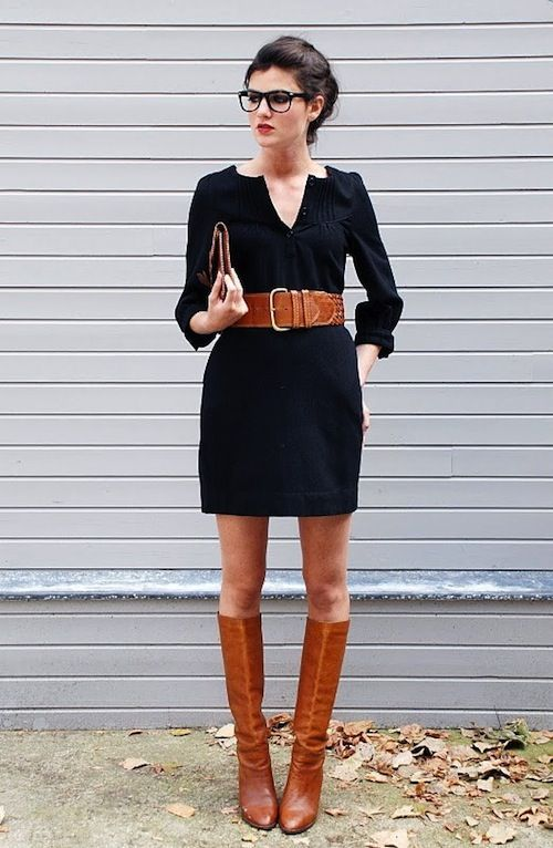 Little black dress, slim fit with cognac riding boots and belt ...