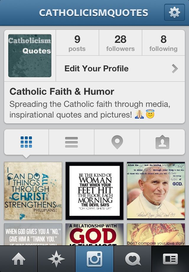 This is a new Catholic Instagram I made that will post pictures of Bible verses, saint quotes, and much more! Please show your support by sharing and following this account if you have an Instagram. God Bless! :)