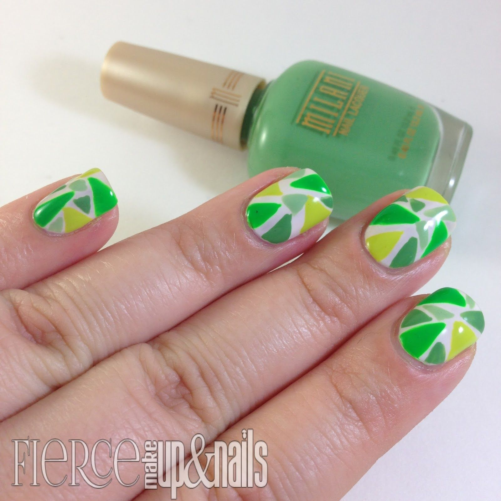 The Digital Dozen does Monochromatic Green Mosaic Nail
