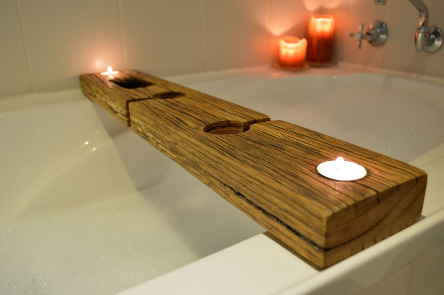 Bath Caddy Recycled Wood, With Copper Bottomed Phone Holder, Inlayed ...