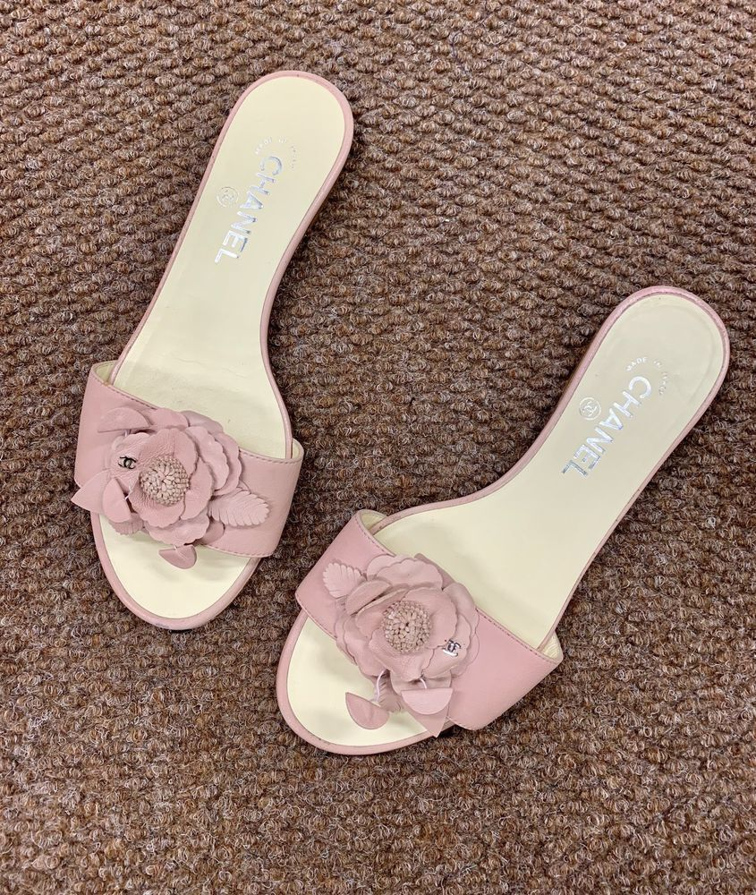 3c979a62ebc2 ... white leather strappy style. Pink leather CHANEL slides 385C  fashion   clothing  shoes  accessories  womensshoes  sandals (ebay link)