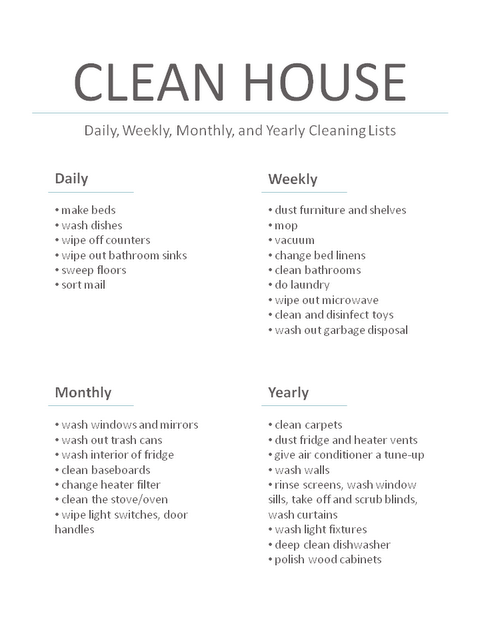 Daily, weekly, monthly, yearly house cleaning task lists Good list ...
