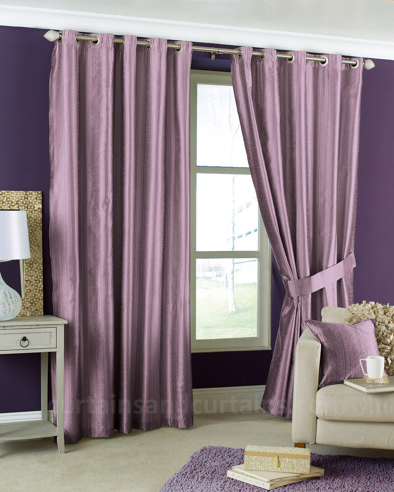 Like The Wall With The Purple Curtains Cheap Curtains Luxury Curtains Beige Curtains