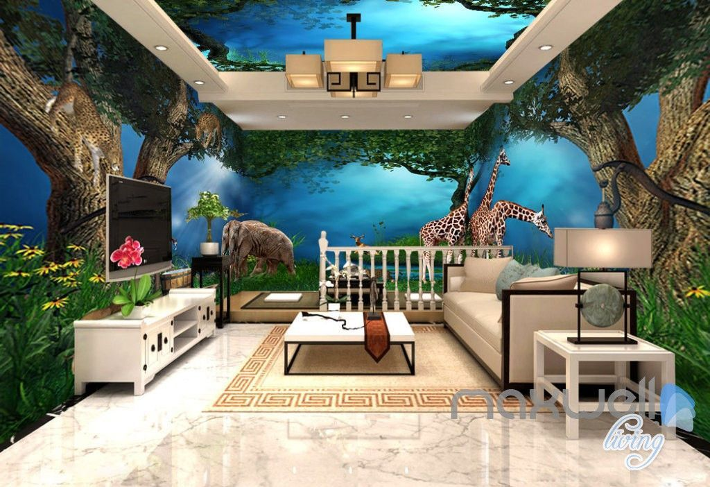 3d Jungle Animals Forest Elepant Entier Living Room Business Wallpaper Wall Mural Idcqw 000274 Kids Room Wallpaper Wall Wallpaper Kids Room Murals