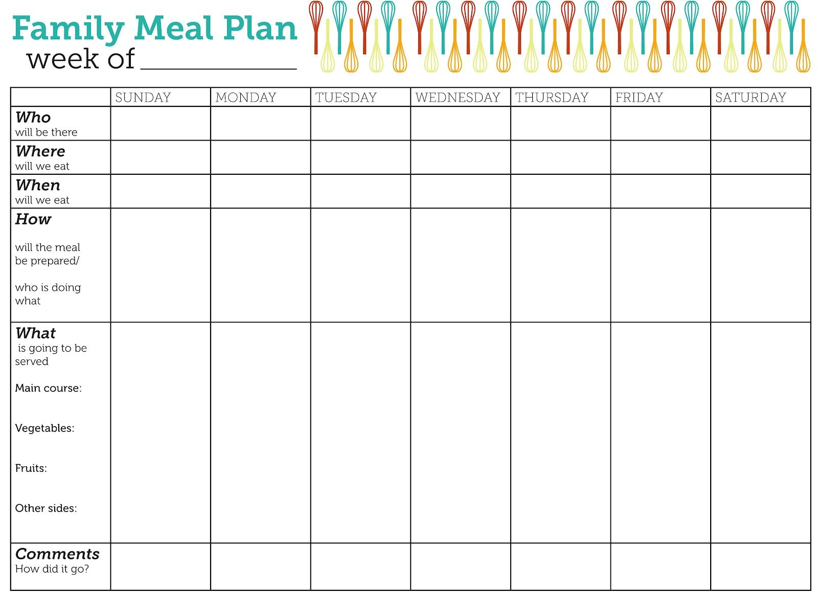 Design Lass Family Meal Plan Printable Free Printable