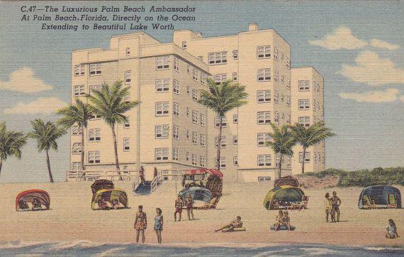 Palm Beach Ambador Fl Vintage By Postcardsofthepast 2 50