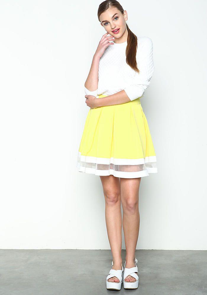 Yellow Sheer Band Flare Skirt