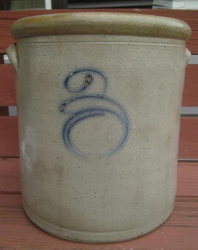 primitive gray stoneware crock