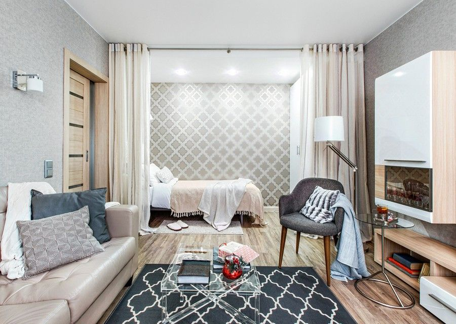 Low Cost One Room Interior For A Contemporary Old Lady Http Homeklondike Living Room And Bedroom In One Bed In Living Room Modern Contemporary Living Room