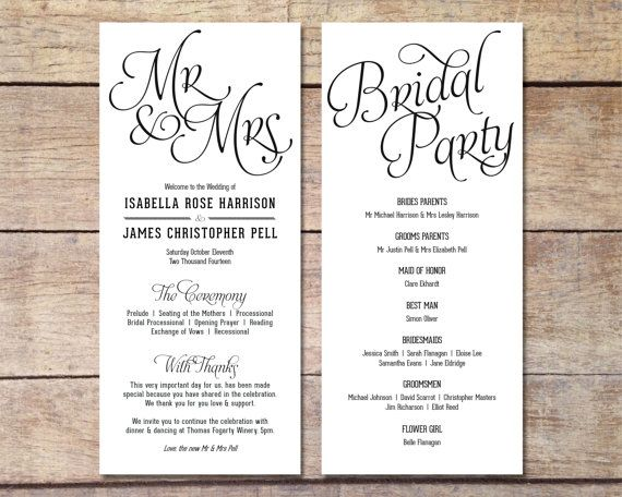 Simple Wedding Program - Customizable - Elegant Design - Simple
