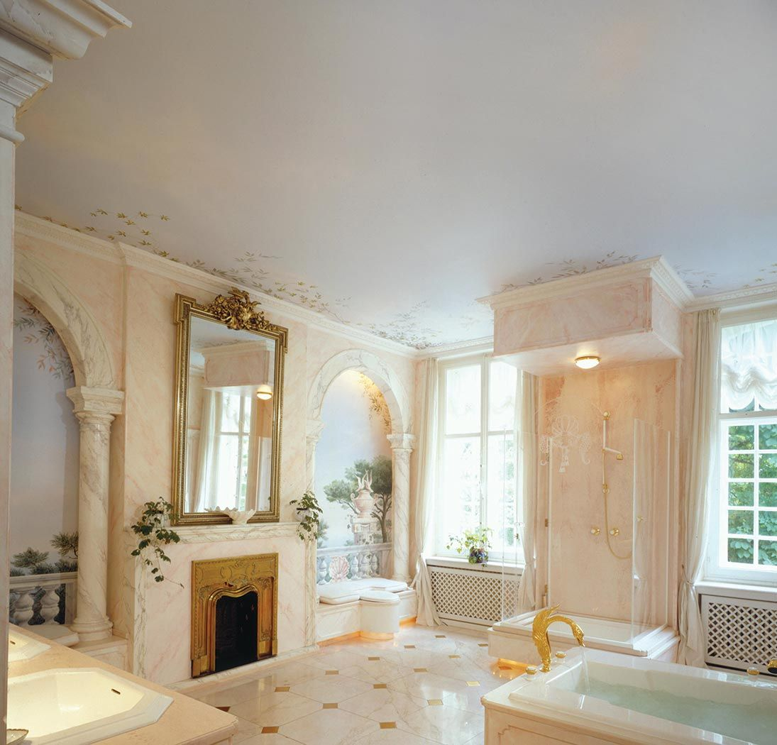 Glamorous Spacious Mediterranean Style Bathroom Design With Gold Frame  Large Bathroom Mirror.