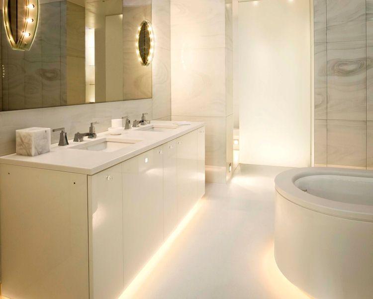 Luxury Bathroom Vanity Units bespoke bathroom design: white corian bath surround and vanity