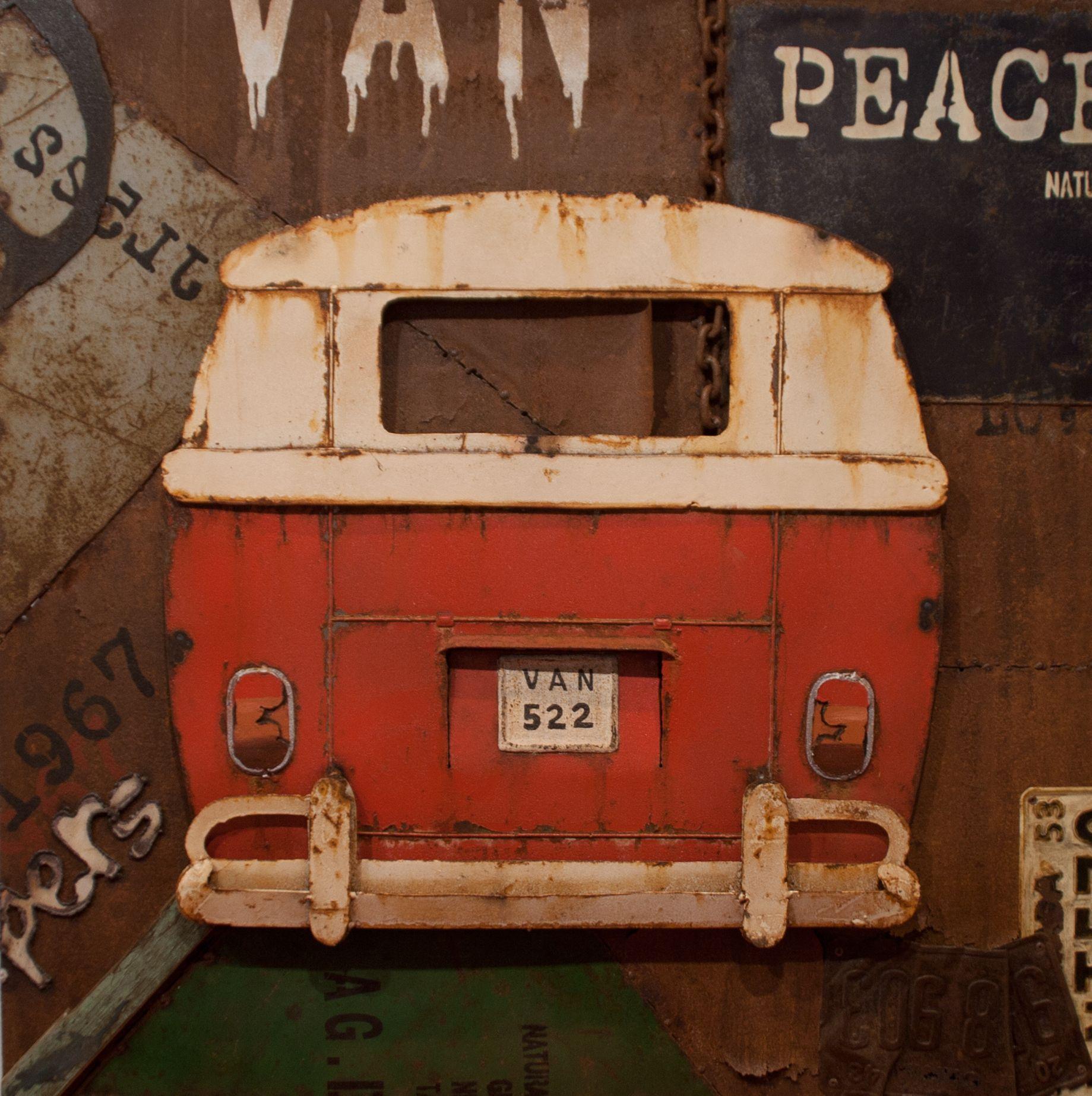 CUADRO VW T1 BACK RED. Acrílico sobre metal con carrocería de la ...