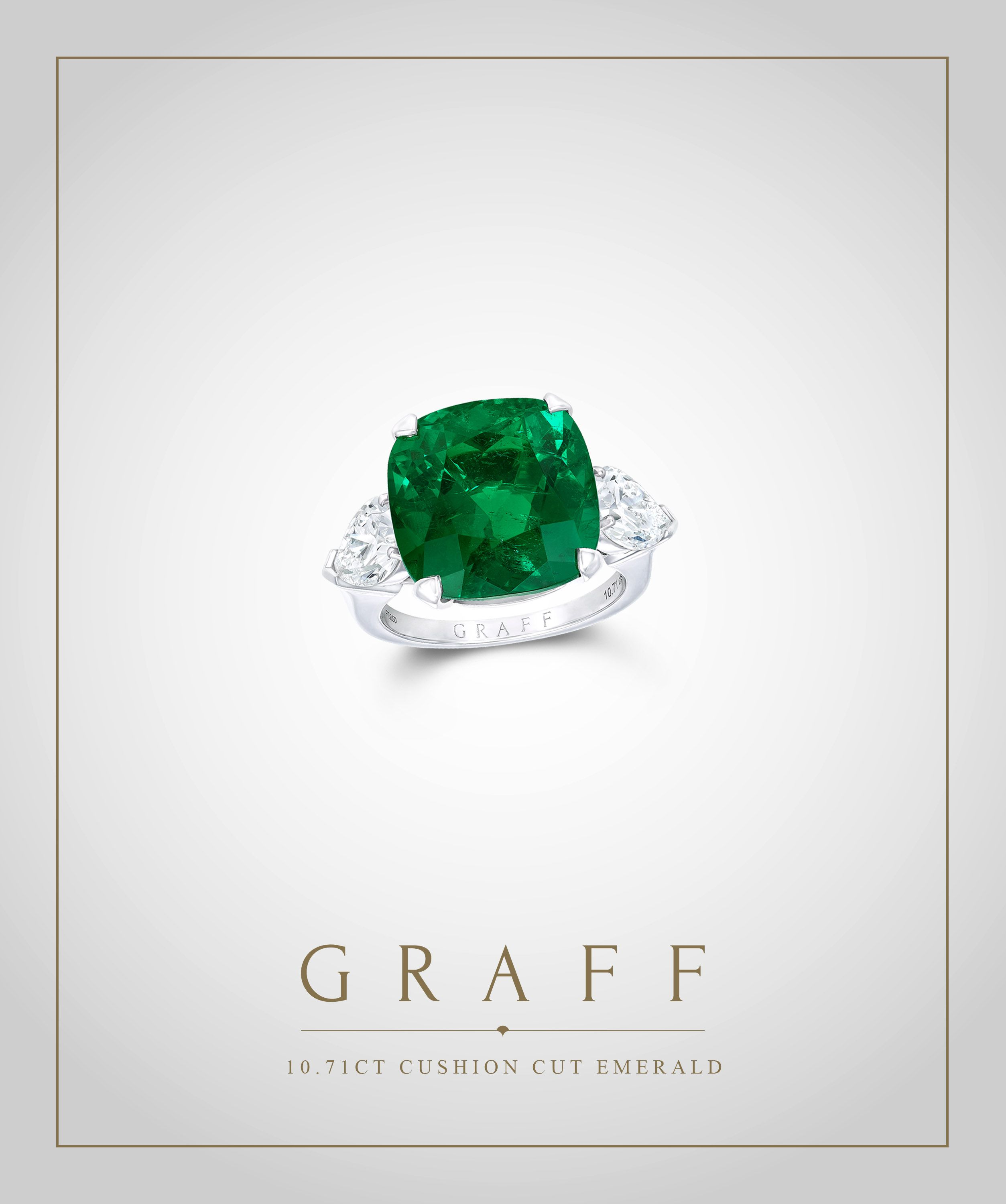 stone with silhouette cut green platinum pave center shank emerald and three radiant in ring uneek