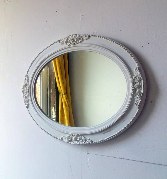 Distressed White Mirror In Large Antique Oval Wood Frame