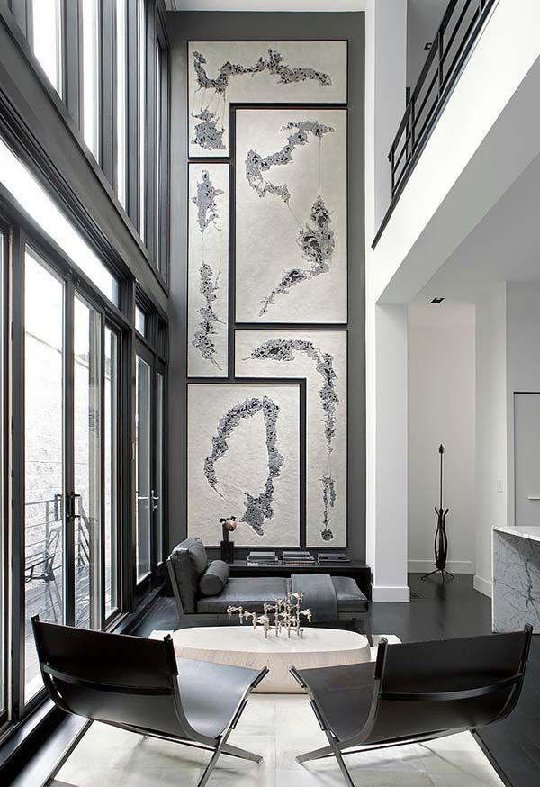 Black And White Interiors Adds Drama To A Chicago Row House Home Interior Design Modern Interior Design Tall Wall Decor