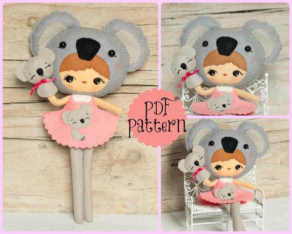 PDF. Koala girl with puppet. Plush Doll Pattern, Softie Pattern ...