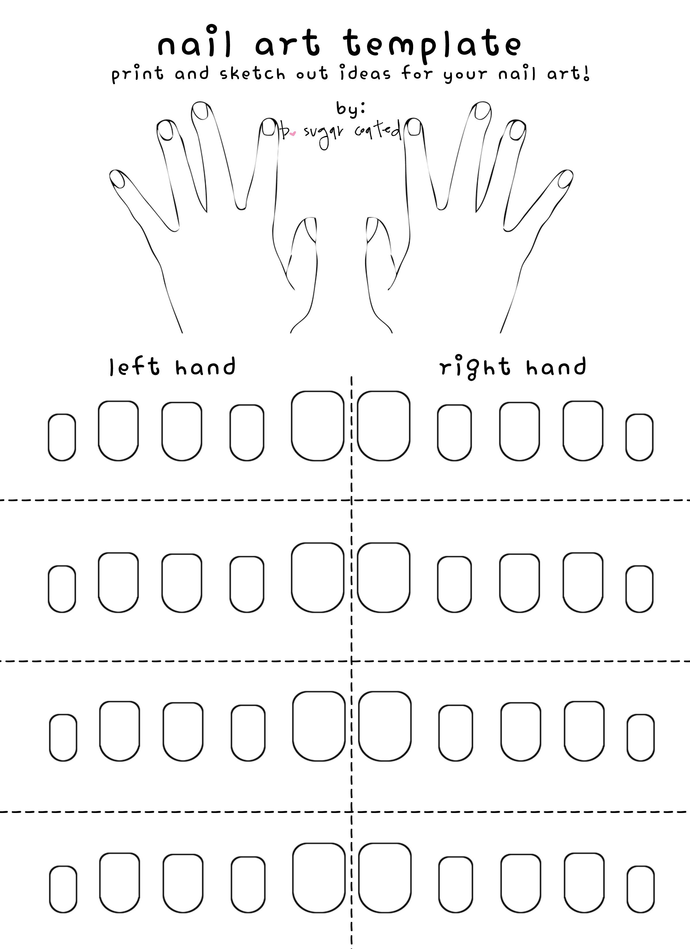 Free Printable Nail Art Template | Hand illustration, Nail wraps and ...