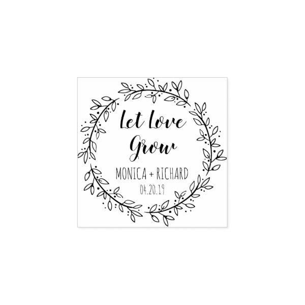 Create Your Own Let Love Grow Typography Wedding Rubber