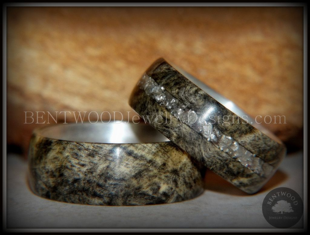 "Bentwood Rings Set - ""Ohio"" Buckeye Burl on Silver Core Classic and Glass Inlay - Bentwood Jewelry Designs - Custom Handcrafted Bentwood Wood Rings  - 1"