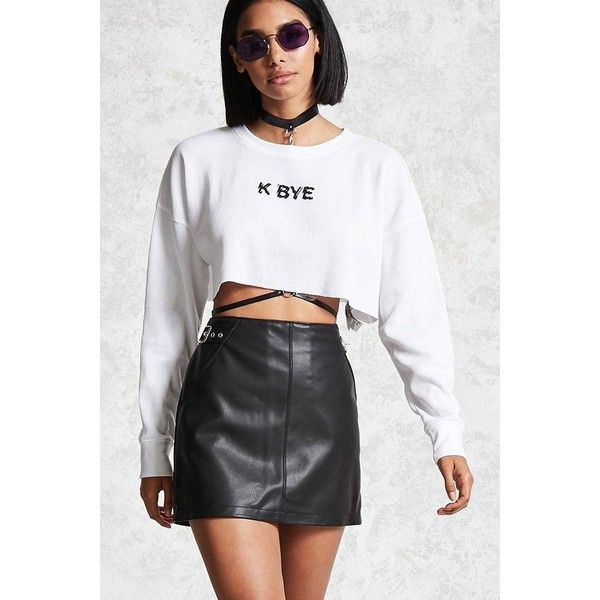 Forever21 K Bye Graphic Crop Top ($9.90) ❤ liked on Polyvore featuring tops,