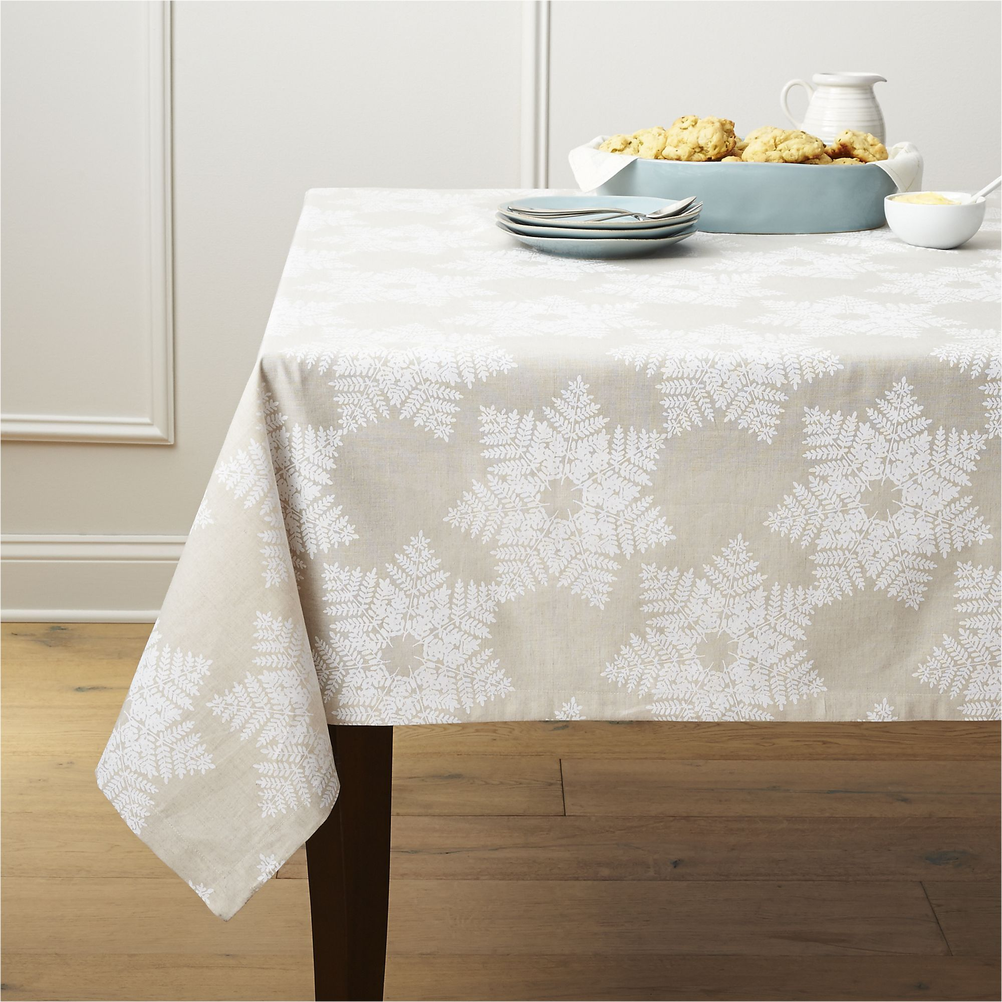 Snowflake White Tablecloth Crate And Barrel Christmas Crate