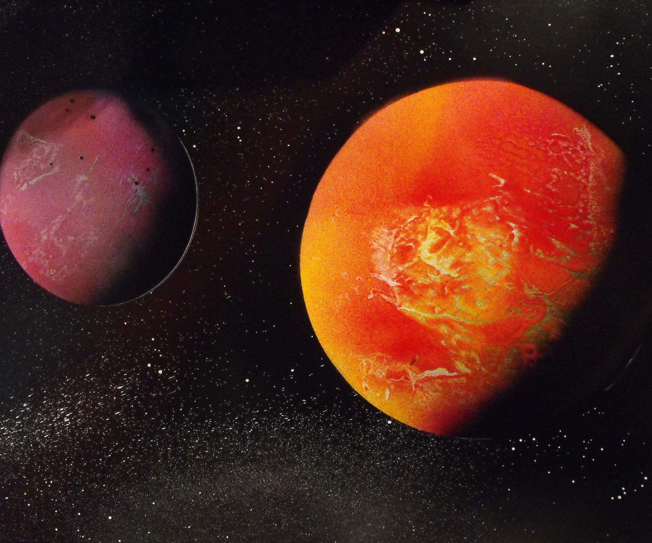 How To Paint An Amazing Space Scene Planet Painting Space Painting Spray Paint Art