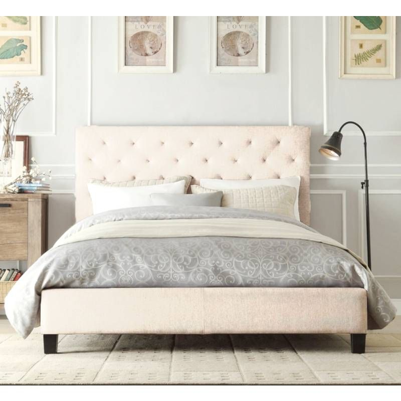 Windsor Queen Bed Frame In Cream Fabric Upholstered Platform Bed