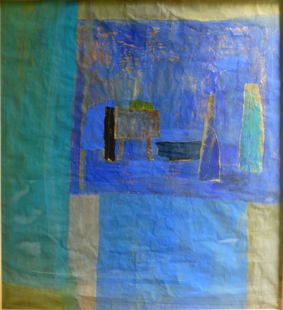 """Still Life on Blue, 1998 Oil and mixed Media on Paper 48"""" x 52 ..."""