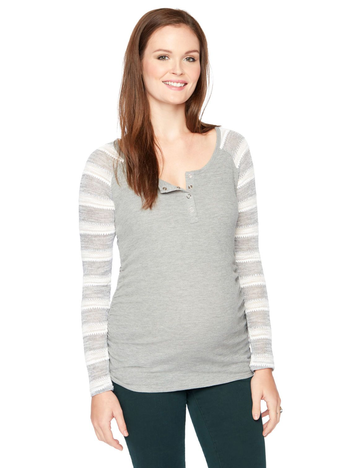 button detail striped henley maternity t shirt by Motherhood Maternity