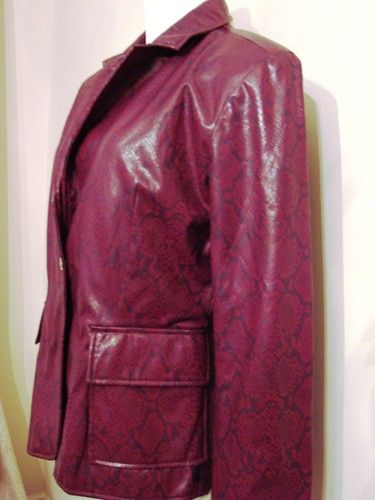 TOMMY HILFIGER Coat Jacket Faux Leather Purple Size Large For FALL