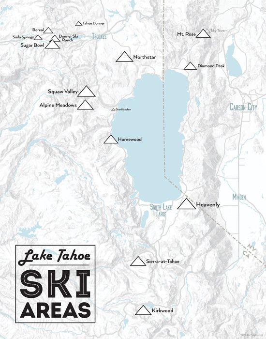 Lake Tahoe Ski Resorts Map 11x14 Print California Bucket List