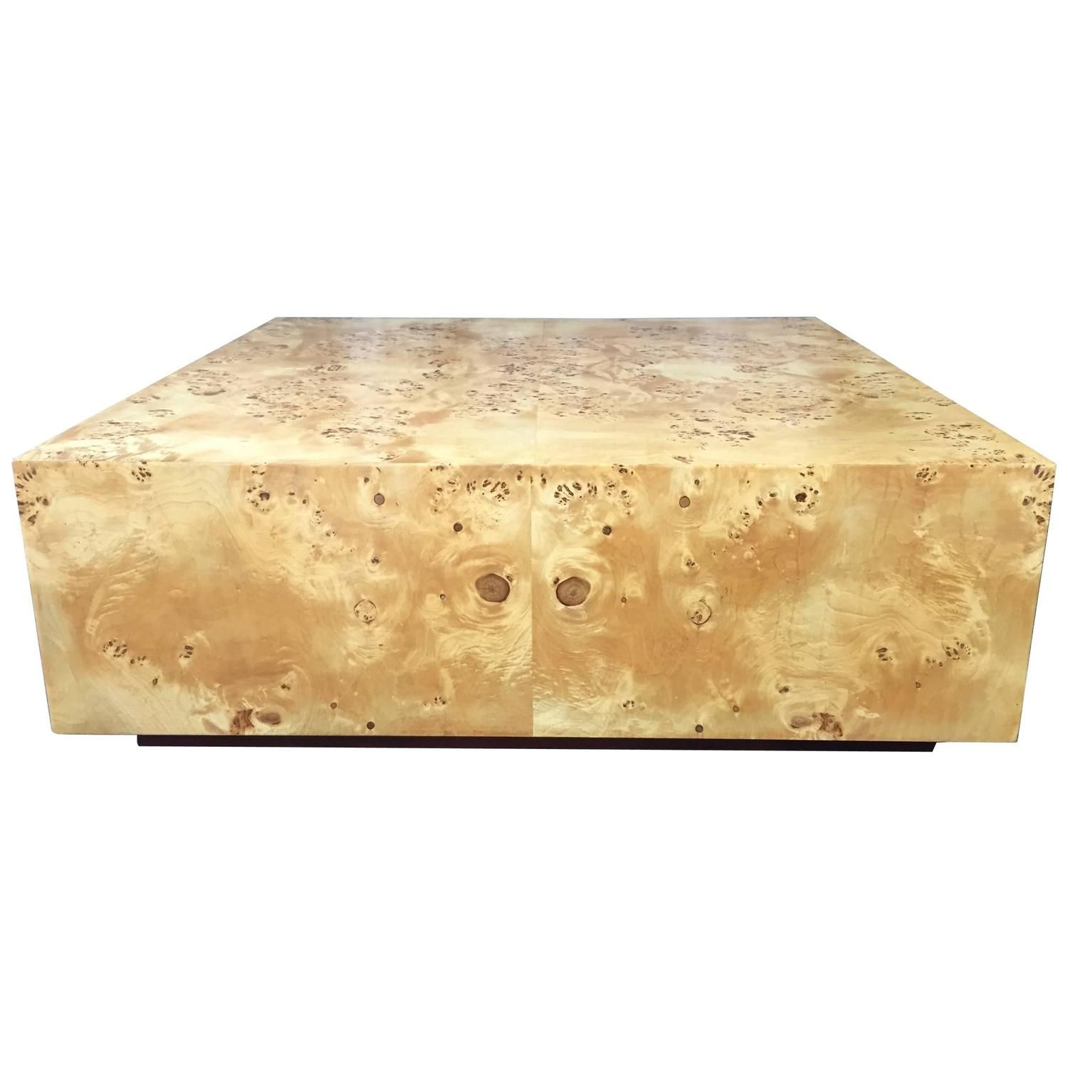 Expansive burl wood floating coffee table attributed to