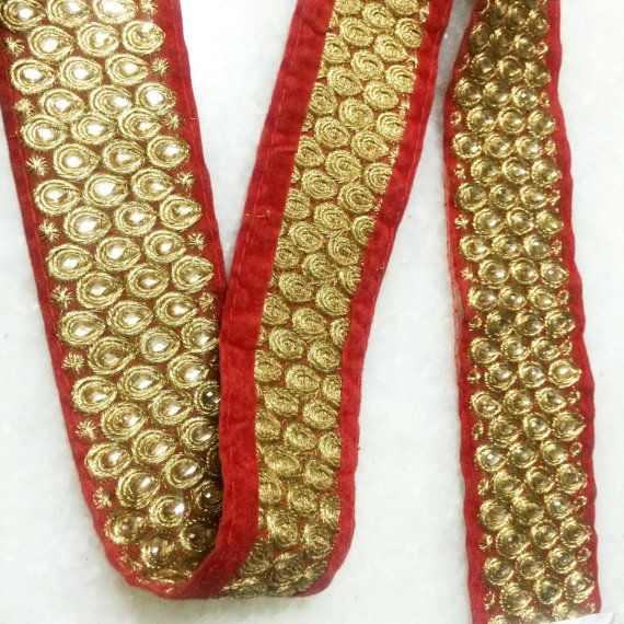 Yellow Embroidered Fabric Trim and Embellishment Indian Trim By The Yard  Saree Ribbon Wholesale Silk Sari