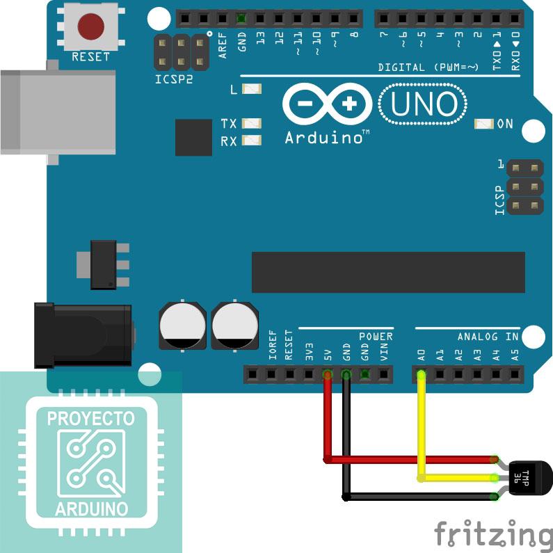 Arduino Uno R3 Con Sensor De Temperatura Lm32dz O Tmp36 Sensor Arduino Temperatura