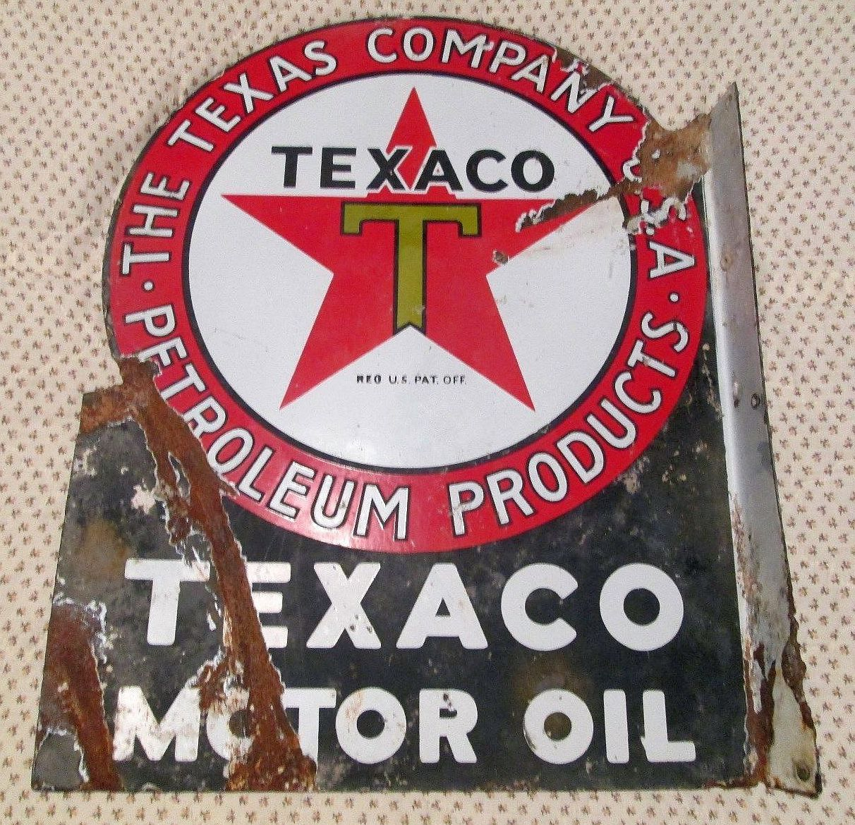 ANTIQUE VINTAGE OLD TEXACO MOTOR OIL SIGN
