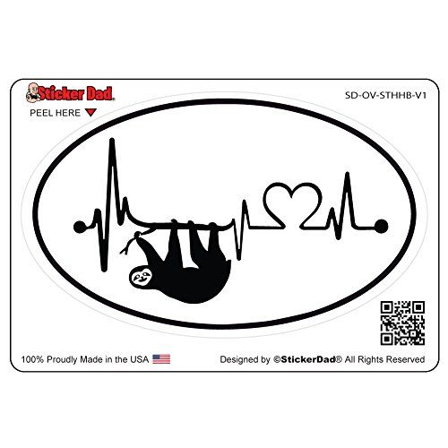 Oval sloth heartbeat v1 full color printed sticker by sti https