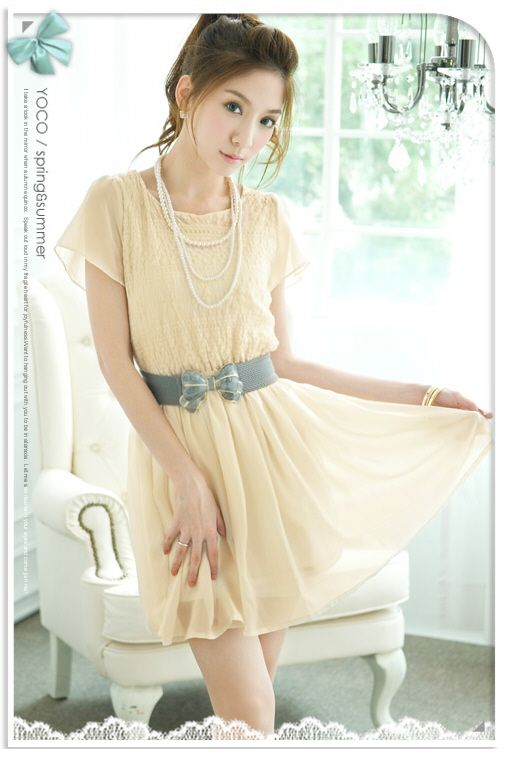 korean dress | korean dress yi1632 apricot [yi1632] $9.30 : Yuki ...