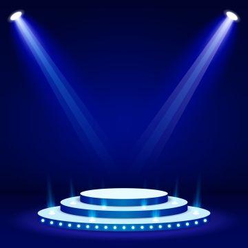 Blue Stage Podium Spotlight Illuminated Scene Vector Illustration Png And Vector Studio Background Images Black Background Images Photo Album Design