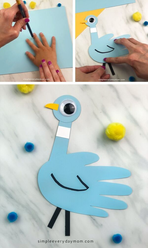 Mo Willems Inspired Handprint Pigeon Craft For Kid