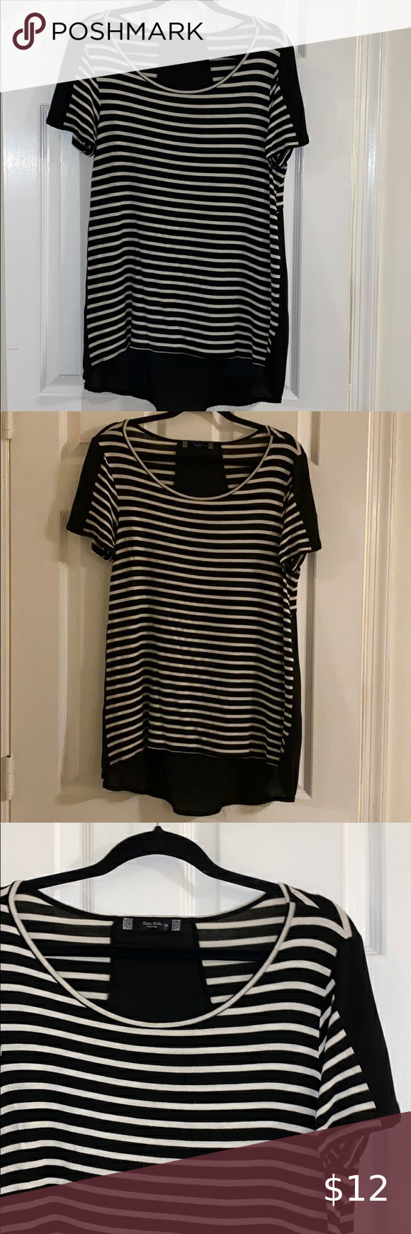Black & White Maternity Shirt Striped shirt sleeve with black and white stripes on front