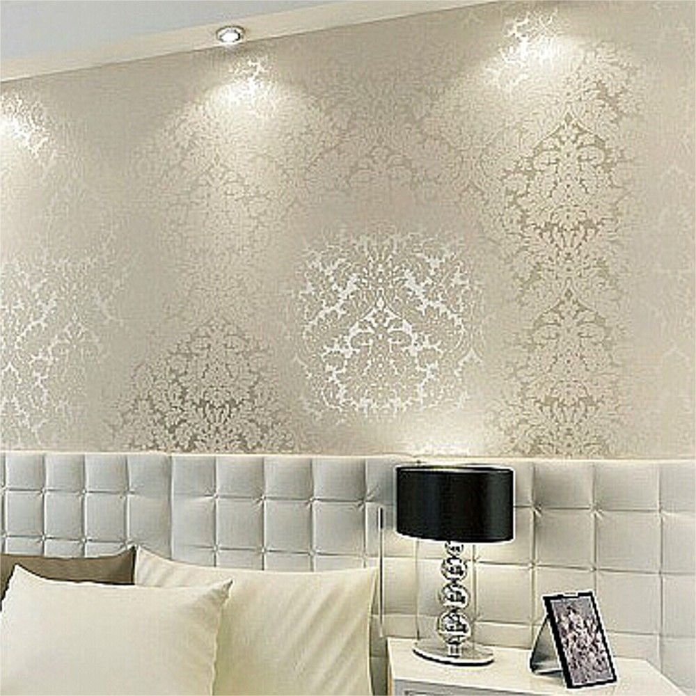 Floral Textured Damask Design Glitter Wallpaper For Living