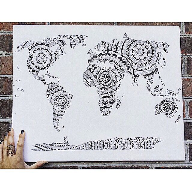 World map mandala with micron pens no short supply pinterest world map mandala with micron pens gumiabroncs Images