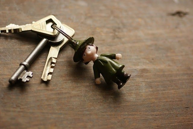 key holder from an old children toy figure