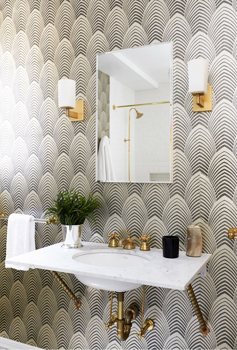 Black and white art deco bathroom - Find This Pin And More On Tropical Art Deco Black And White Wallpaper In Bathroom