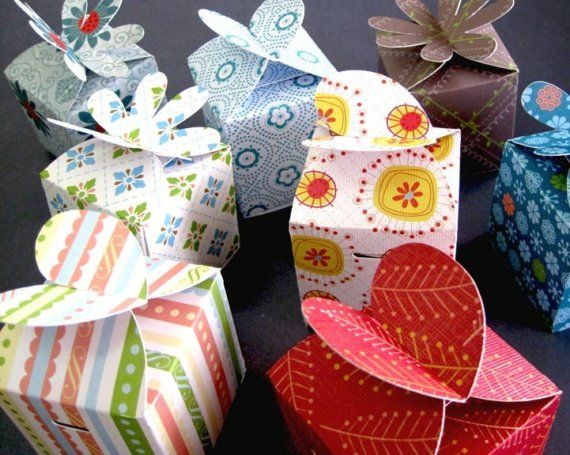 Flower tango  Mini gift boxes  Set of 8 by PaperFairytale on Etsy, $7.50